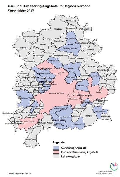 Karte Car- und Bikesharing im RV